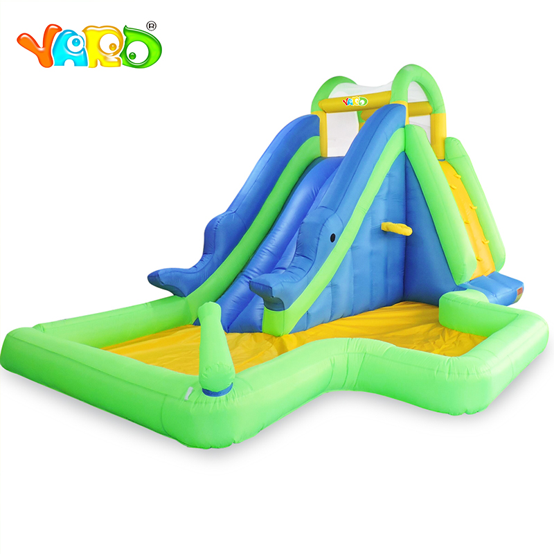 цена на YARD Playground Inflatable Water Slide with Swimming Pool Ball Hoop Water Gun Combo Inflatable Jumping Castle for Kids