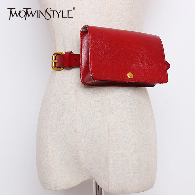 TWOTWINSTYLE Leather Belt Women With Small Waist Bag Cowskin Belt Girdle Female Casual Style Fashion Tide 2020 Clothing New