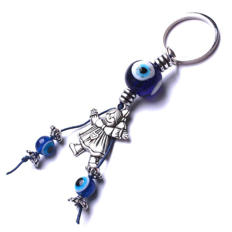 1 pc Cô Gái Keychain Màu Xanh Evil Eye Sự Quyến Rũ Tua Xe Keychain Phụ Nữ Đồ Trang Sức Thời Trang Quà Tặng May Mắn Vòng Chìa Khóa Kim Loại