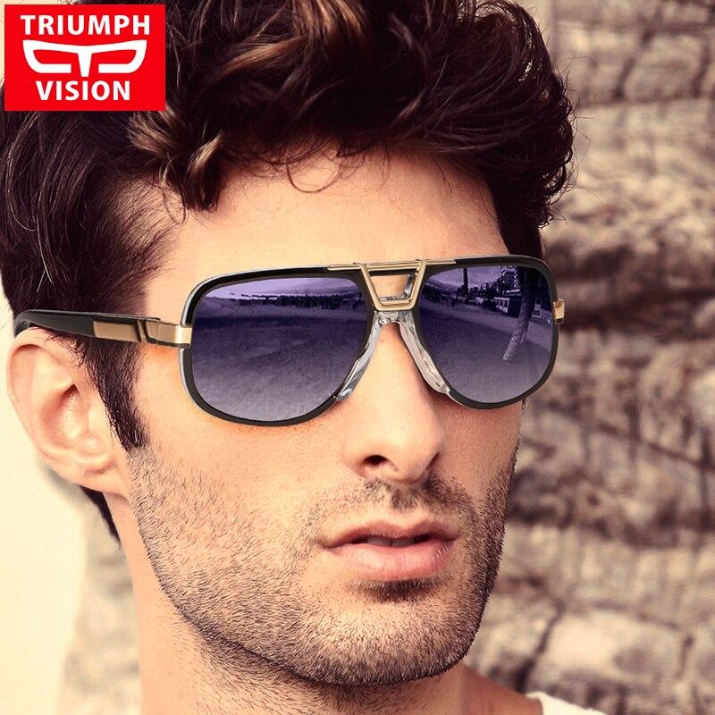 TRIUMPH VISION Schwarz Sonnenbrille Männer Gradienten UV400 Sonnenbrille Für Männer Pilot Übergroßen Gafas Shades Tough Guy Stil Oculos