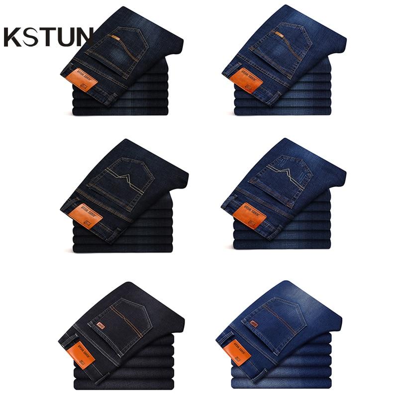KSTUN Men Jeans Straight Regular Fit Dark Blue Business Casual Denim Pants Jeans Mens Long Trousers Cotton Cowboys Dropshipping
