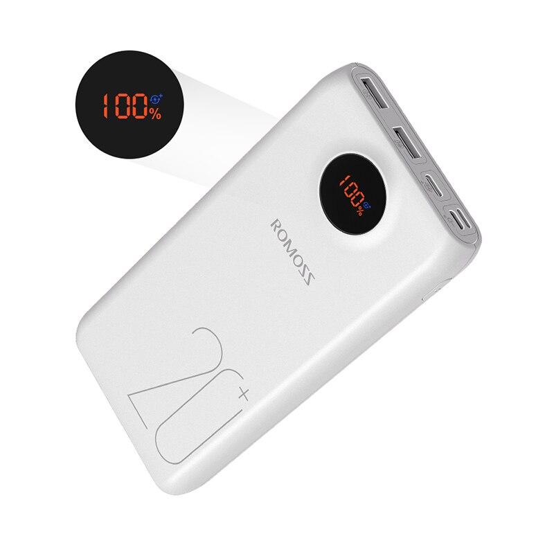 20000 мАч ROMOSS SW20 Pro портативное зарядное устройство Внешний аккумулятор QC3.0 Быстрая зарядка со светодиодный дисплеем для телефонов и планшетов - Цвет: White