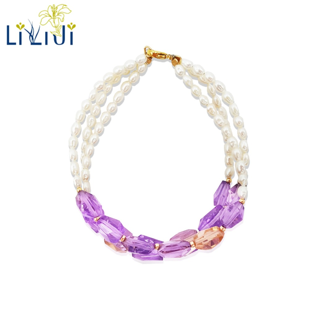 Lii Ji Natural Gemstone Ametrine Faceted Beads,Freshwater Pearl 925 Sterling Silver 18K Gold Color/9K GF 3 Rows BraceletLii Ji Natural Gemstone Ametrine Faceted Beads,Freshwater Pearl 925 Sterling Silver 18K Gold Color/9K GF 3 Rows Bracelet