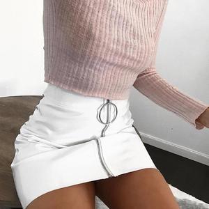Image 5 - Seksowne spódnice damskie seksowna spódnica z wysokim stanem PU skóra jesień metalowa obręcz Zipper spódnica ołówkowa dopasowana spódnica Mini faldas mujer moda 2020