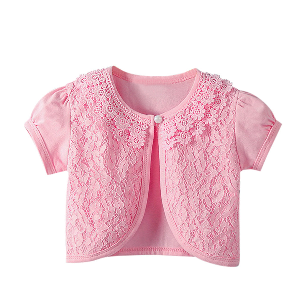 Kids Girls Lace Cardigan Baby Short Sleeves Jackets For Girl Wedding Party Cape Coat Children Dress Tops Clothing Crochet