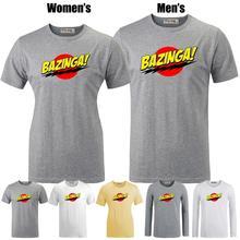 Bazinga Big Bang Theory Sheldon Cooper Pattern Printeds T-Shirt Men's Boy's Graphic Tops Grey White