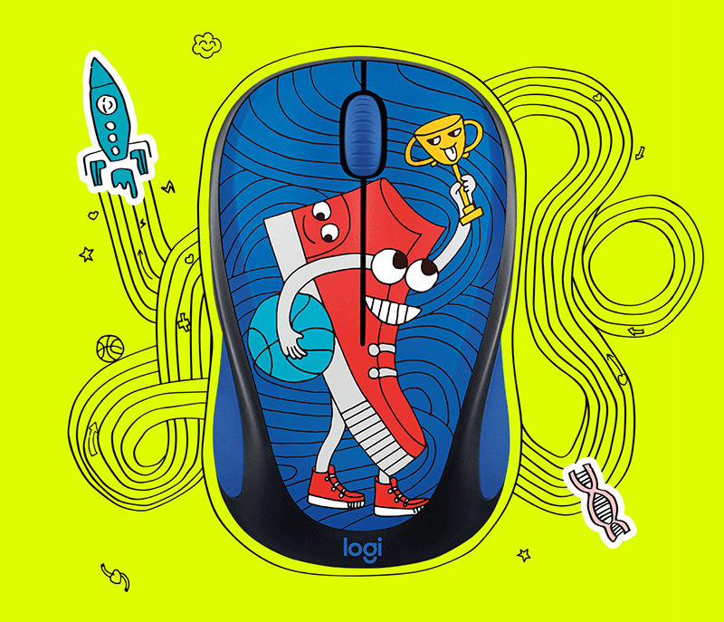 US $31 5 10% OFF|New Logitech M238 v3 wireless mouse office girls portable  cartoon notebook desktop USB multi color M238 cartoon version-in Mice from