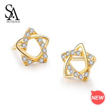 SA SILVERAGE 9K Yellow Gold Trendy Star Stud Earring for Women AAA Zirconia K-Gold Earrings 2019 Fashion New