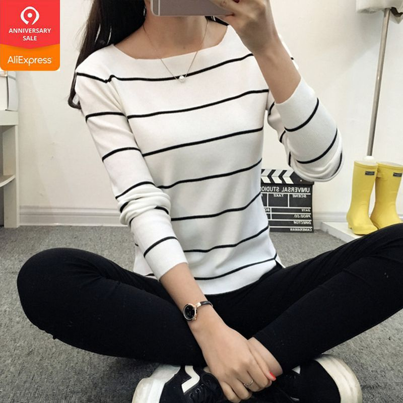 OHCLOTHING 2019 Striped Collar Sweater Sweater Autumn Thin Coat Dress Lady Shirt Autumn Jacket Female