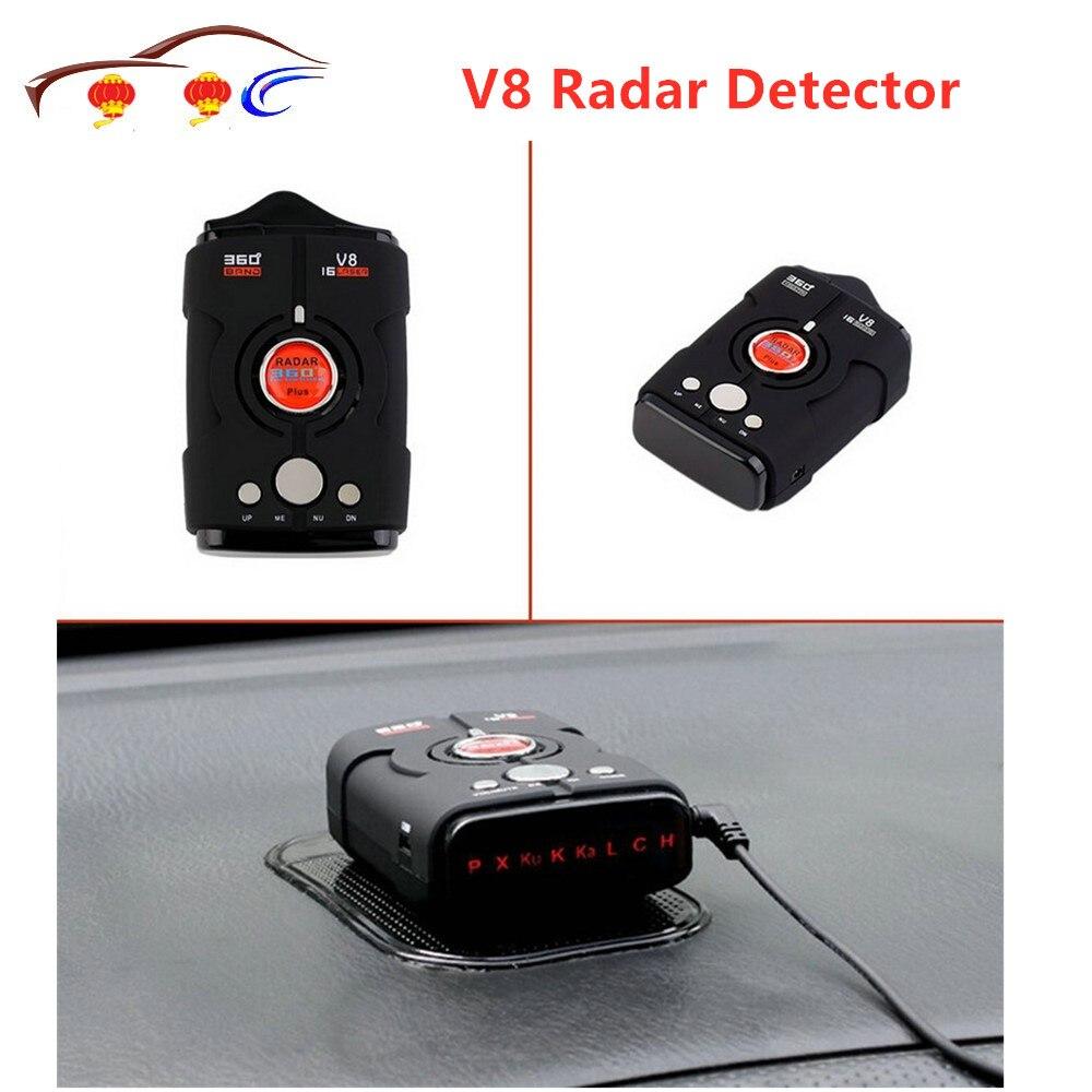 Newest V8 360 Degree Car Radar Detector 16 Band Russian English Version LED Display Anti Radar Detector XK NK Ku Ka Laser V 8