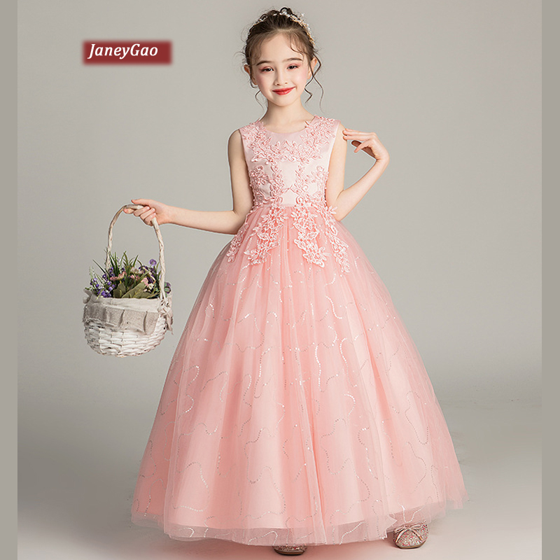 JaneyGao Flower Girl Dresses For Wedding PartyGirls First Communion Dresses Pink Pageant Teenage Long Dresses 2019