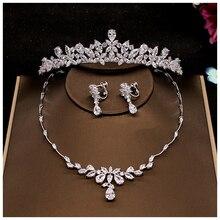 2Pcs Blume Crown Set Hochzeit Zubehör Trendy Zirkon Tiara Halskette Strass Krone Für Braut Hochzeit Pageant Kronen