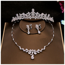 2Pcs Flower Crown Set Wedding Accessory Trendy Zircon Tiara Necklace Rhinestone Crown For Bride Wedding Pageant Crowns