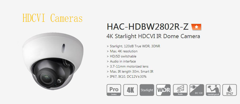 цены Free Shipping DAHUA Original Security 4K Camera 8MP True WDR 3DNR IR Waterproof HDCVI Dome Camera IP67 No Logo HAC-HDBW2802R-Z
