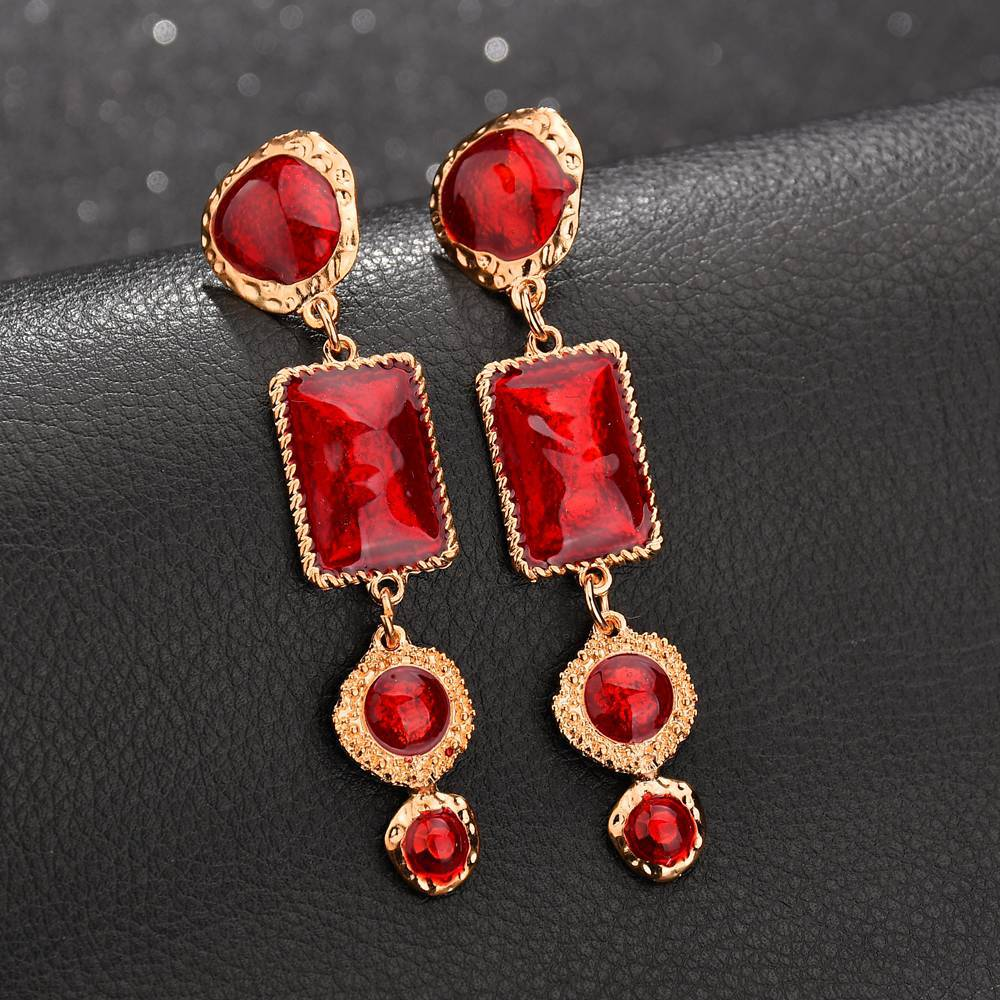 1 pair of new inlaid zircon pendant fashion retro national court earrings jewelry direct in Drop Earrings from Jewelry Accessories