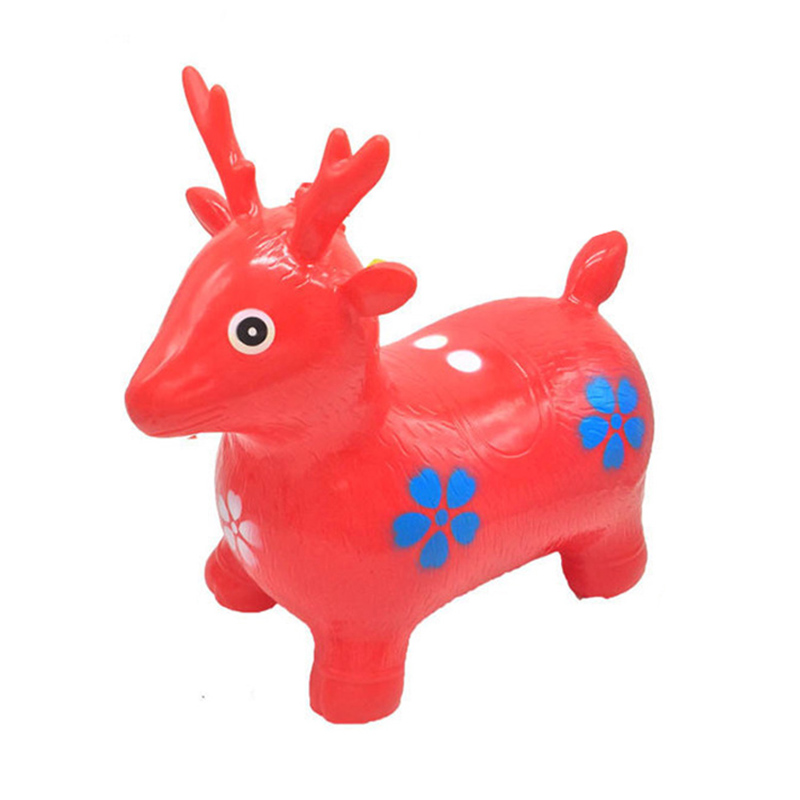 Inflatable Bouncer Jumping Rides on Animal Bouncy Horse Toys Child Kids Rubber Deer Gift Toys Random Colors New - 4