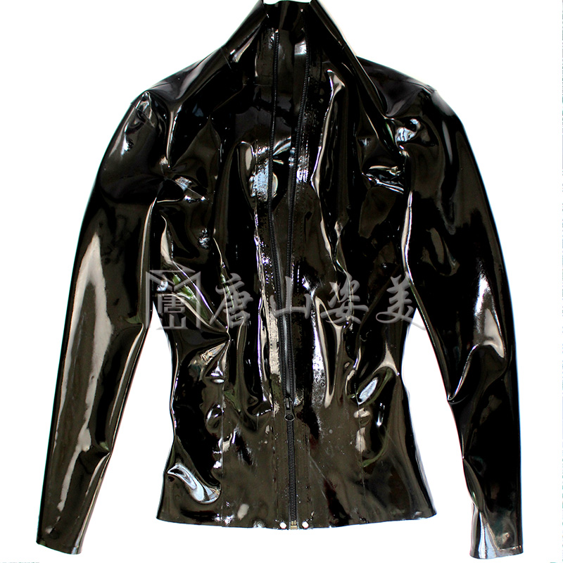 Camiseta de borracha preta da luva longa superior do látex personalizada - 2