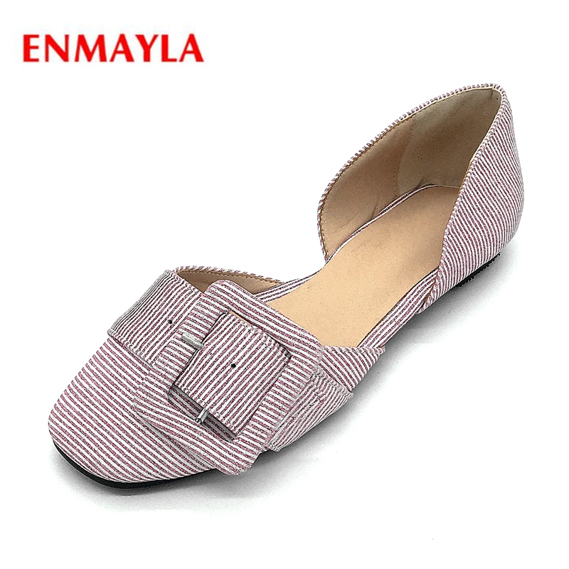 ENMAYLA New fashion women cotton fabric round toe buckle slip-on lady sweet causal shoes Big size 34-43 ZYL477