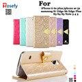 Nova marca leiers eterno series de couro de luxo de ouro diamante case para galaxy s5 s6 s7 edge plus mão-cinta & metal button & bolsa