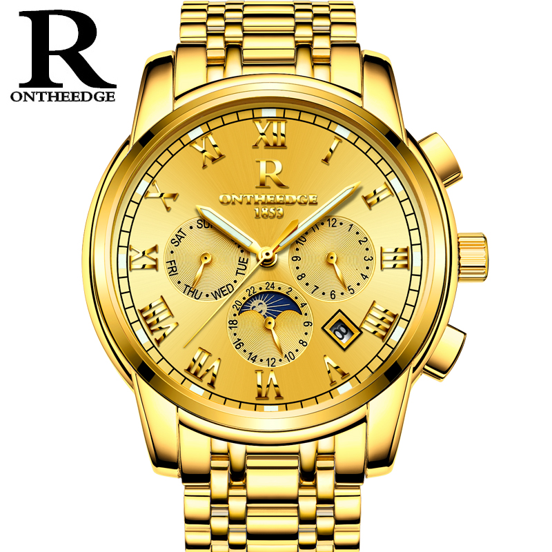 RONTHEEDGE Automatic Mechanical Watch Men Gold Luxury Auto Calendar Moon Phase Watches Stainless Steel Wristwatches Montre Homme