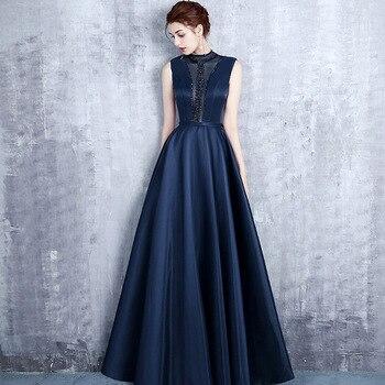 a2e4b6f47563 Vestido largo para mujer 2019 nuevo vestido de fiesta de satén elegante con  cuentas decoración espalda descubierta azul marino vendaje vestido