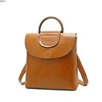 EBOYU Genuine Leather Women Leather Backpack Girls Ladies Shoulder Bag Rucksack Purse Daily Casual Daypack Travel Bag #2600