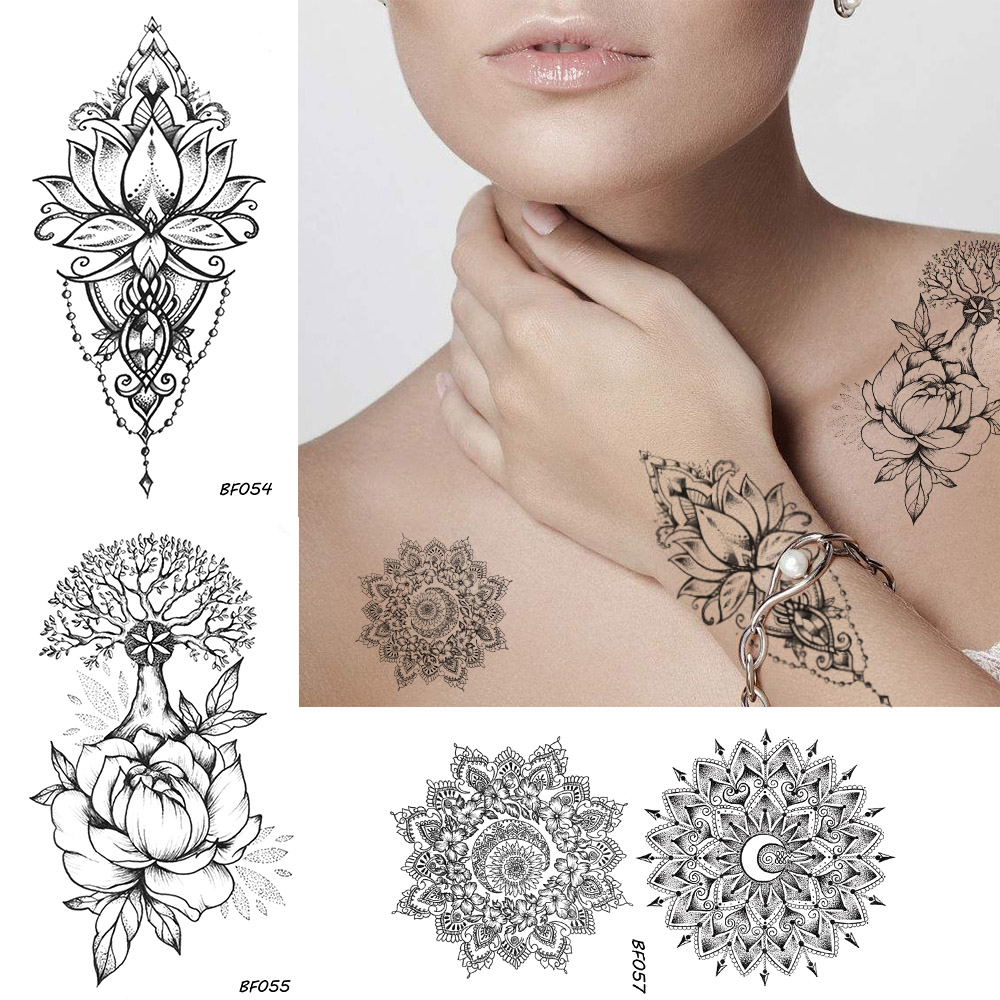 Women Sexy Henna Flower Temporary Tattoo Stickers Black Waterproof Fake Jewelry Tatoos Buddhist Lotus Tree Body Art Tattoo Lace