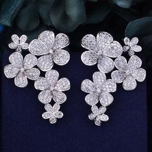 Image 5 - GODKI 48mm Flower Boom Luxury Trendy Full Mirco Paved Cubic Zirconia Naija Wedding Drop Earring Fashion Jewelry