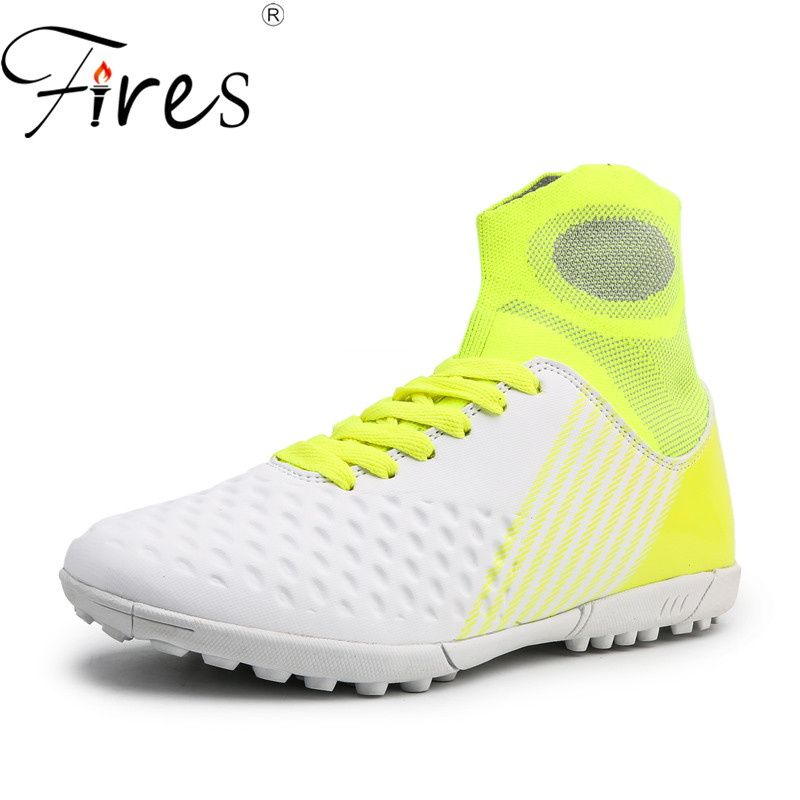 Fires Men Soccer Shoes Short Nail Sport Shoes Race Outdoor Training Sneaker High Ankle Kids Sock Cleat Shoes Male Football Shoes|Soccer Shoes| |  - title=