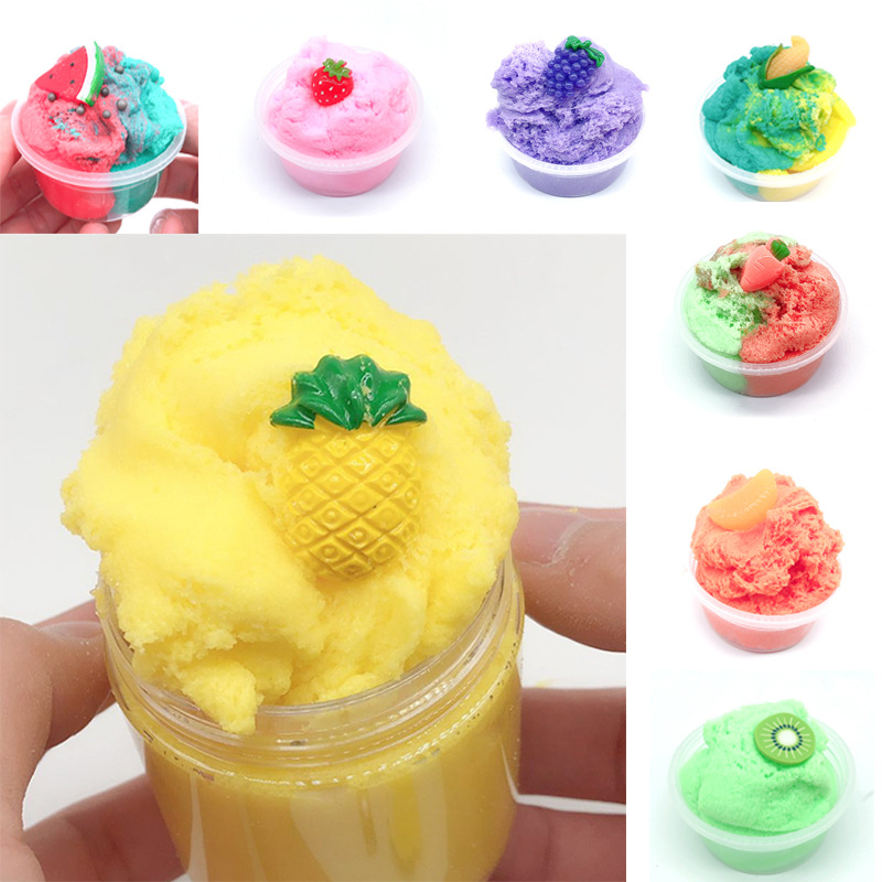 60ML Fruit Pineapple Fluffy Slime Cloud Slime Modeling Clay Rainbow Slime Toy For Kids Children Antistress Reliever Lizun Floame