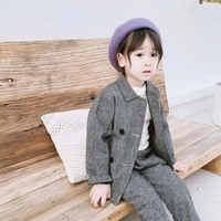 Kids Clothes New Winter Children Clothing Sets Baby Girl Boy Cotton Thick Double breasted Plaid Blazer Coat+Pant 2pc Blazer Suit