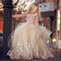 Я Залива И Элегантный Розовый Жемчуг Цветок Девочки Платья Этаж длина Corest Вернуться Первое Причастие Платья Для Девочек Дети Платье Выпускного Вечера