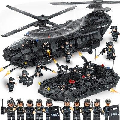 SWAT Team 1351 STÜCKE fit legoings City Police Bausteinziegelsteine SWAT police solider Transport Hubschrauber Kinder Kind Geschenk Spielzeug