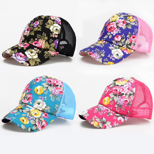 NEW Female Hats Floral Hat Baseball Cap Mesh Cap Spring And Summer Sports And Leisure Sun Visor Sun Hat Snapback Cap