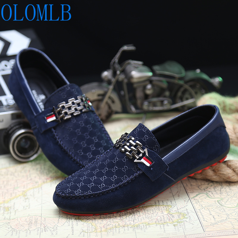 OLOMLB Men Black Loafer Shoes Trendy Nubuck   Leather   Slip-on Loafers Vintage Style Men Loafers Driving Casual Blue Flat Shoes