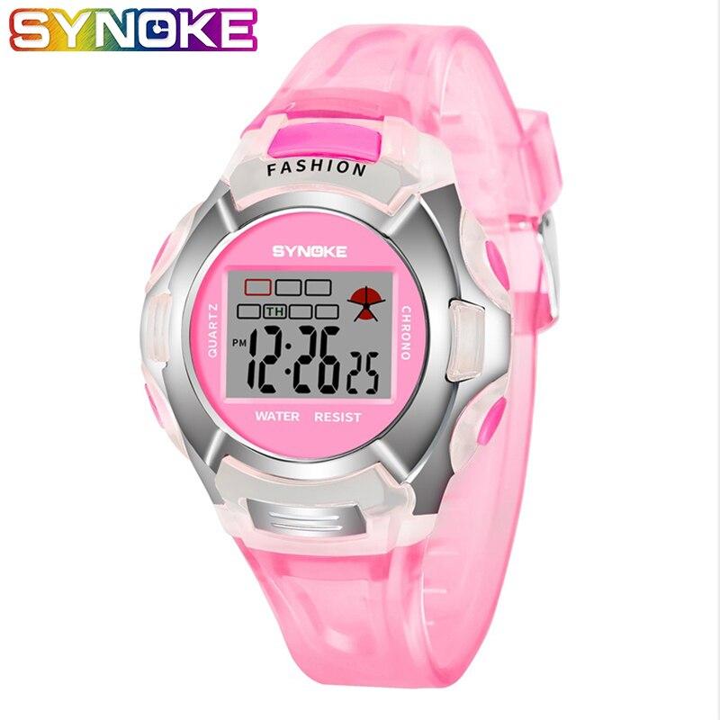 SYNOKE Student Kids Watches Girl Sport Cute Pink Blue Alarm Silicone Boys Digital Electronic 3 Bar Children Wristwatch