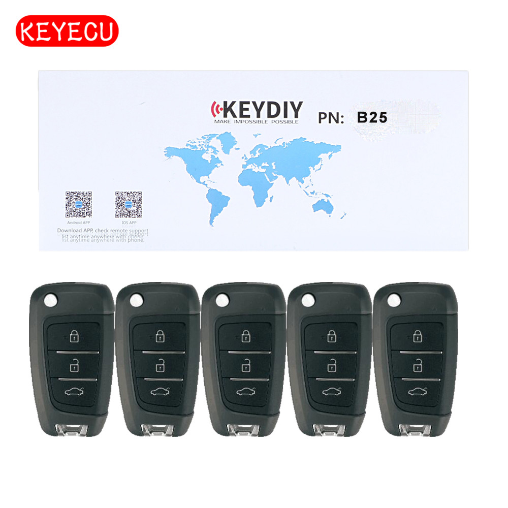 KEYDIY 5PCS Universal Remote Key 3 Button B Series for KD900 KD900 URG200 KD X2 KEYDIY