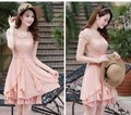 The new foreign trade summer 2014 European women's clothing collar lace stitching chiffon dress with short sleeves