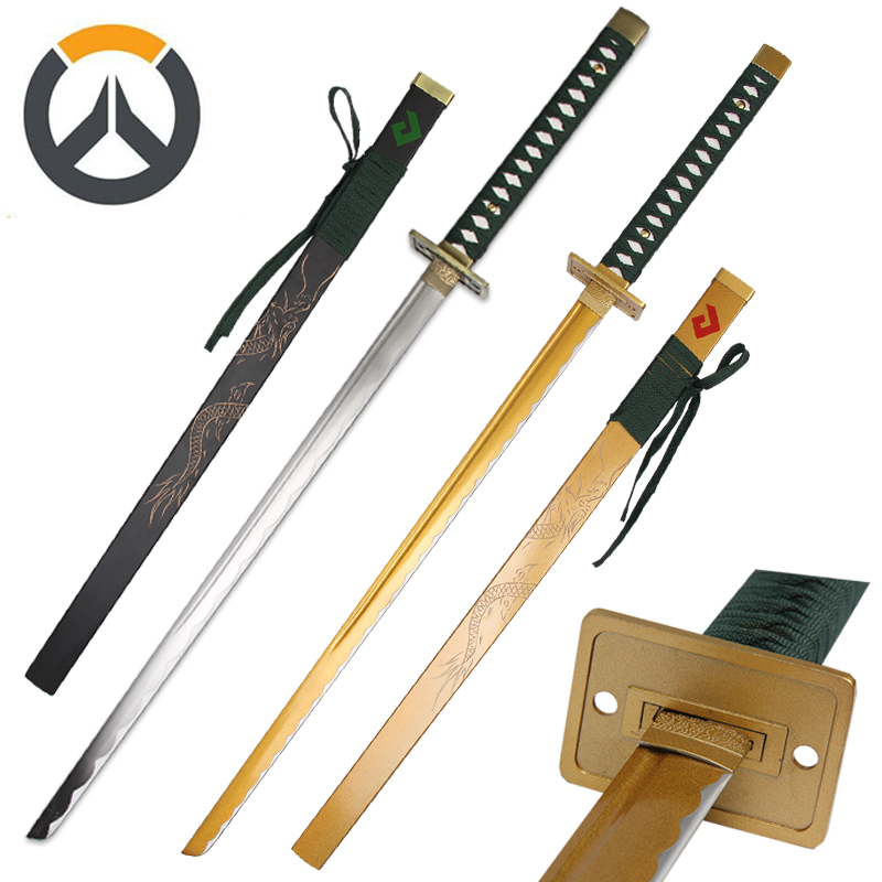 For Over Watch Cosplay Replica Genji Sparrow Sword Graved Dragon Real Steel Katana Zcela nový Supply-Ocher / Black