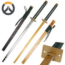 For Over Watch Cosplay Replica Genji Sparrow Sword Engraved Dragon  Real Steel Katana Brand New Supply-Ochre/ Black