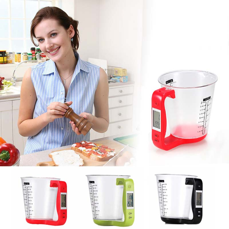 Fashion Multi function Electronic Measuring Cups With LCD Display Liquid Measure Cup Household Scales Kichen Tools
