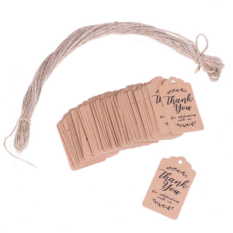 100 pièces merci étiquettes en papier pour fête de douche de bébé faveurs cadeaux de mariage personnalisés pour les invités brun Kraft étiquettes cadeaux