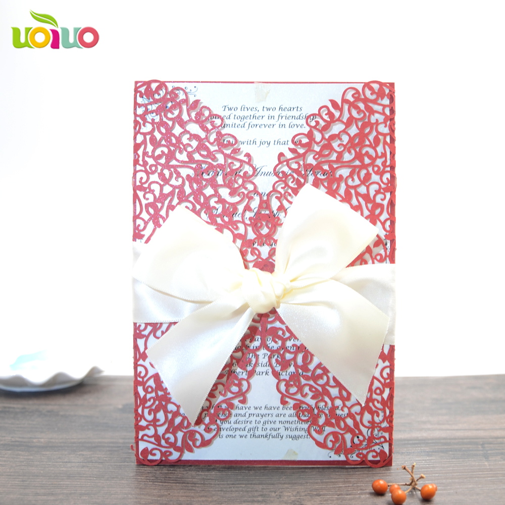 China supplier 10 sets wedding invitations laser cut invitation card ...
