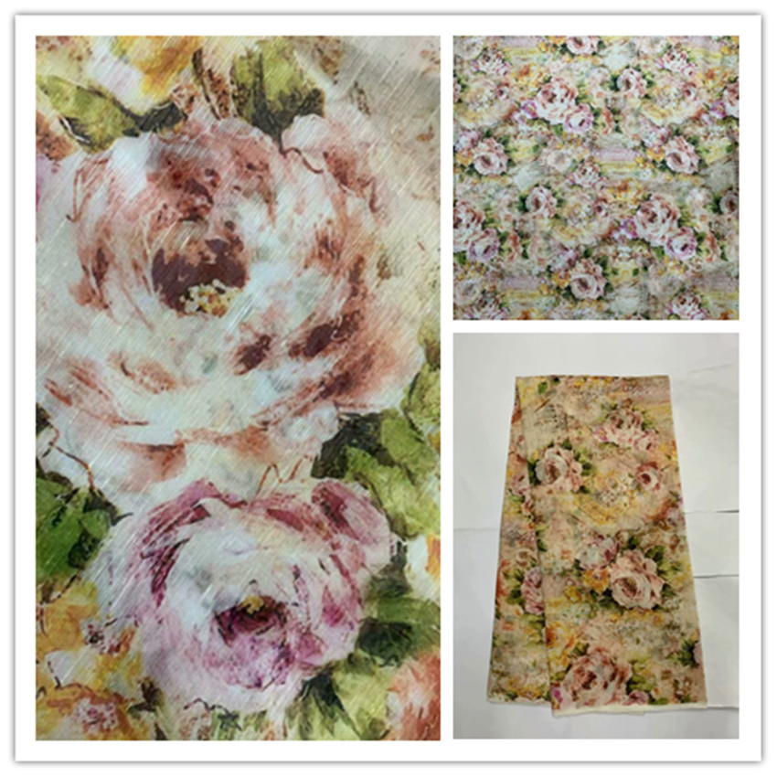 140cm Pink Color Printed Flowers Silk Fabrics Mulberry Silk Chiffon Fabric Textile For Girls Summer Dress Clothing Carf 6M/M Y05