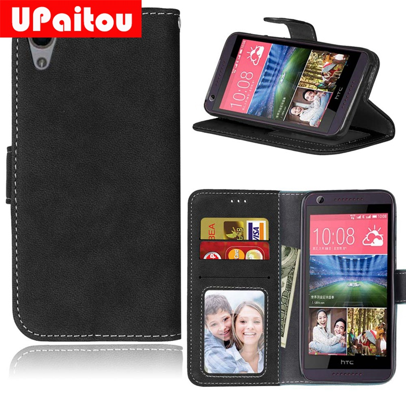 UPaitou Retro Frosted PU Leather Case For HTC Desire 626 626G 626S Vintage Wallet Case for HTC 626 Flip Cover Soft TPU Cases