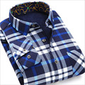 2016 New Arrival Men Shirt Cotton Plaid Shirts Long Sleeve Casual Shirt Man Fashion Warm Camisa Winter Thick Chemise Homme Loose