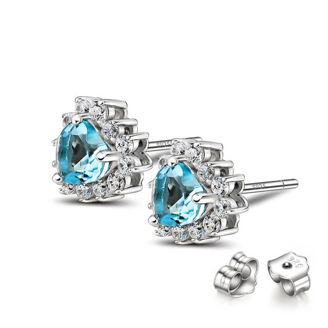 925 Prata Esterlina Amor Clássico Titanic Coração Do Oceano Azul Cristal Mulheres Brincos Moda Jóias de Casamento Por Atacado