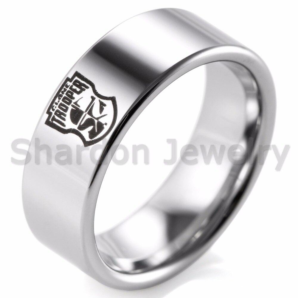 Shardon Для мужчин 8 мм Вольфрам Кольца Черный Лазерная Клон Trooper дизайн Для мужчин обещание Обручальные кольца Обручение кольцо