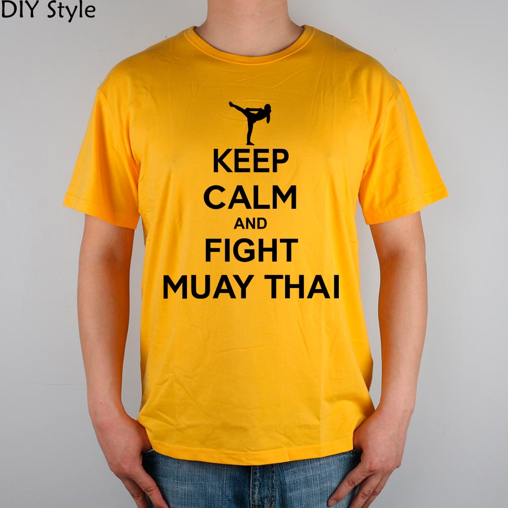 KEEP CALM MUAY THAI T-shirt in cotone Lycra top Fashion Brand - Abbigliamento da uomo