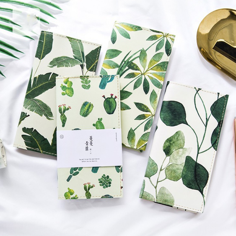 1 Pcs/set  Lovely Fresh Plants Bullet Journal Series Portable Leather Notebook Schedule Stationery